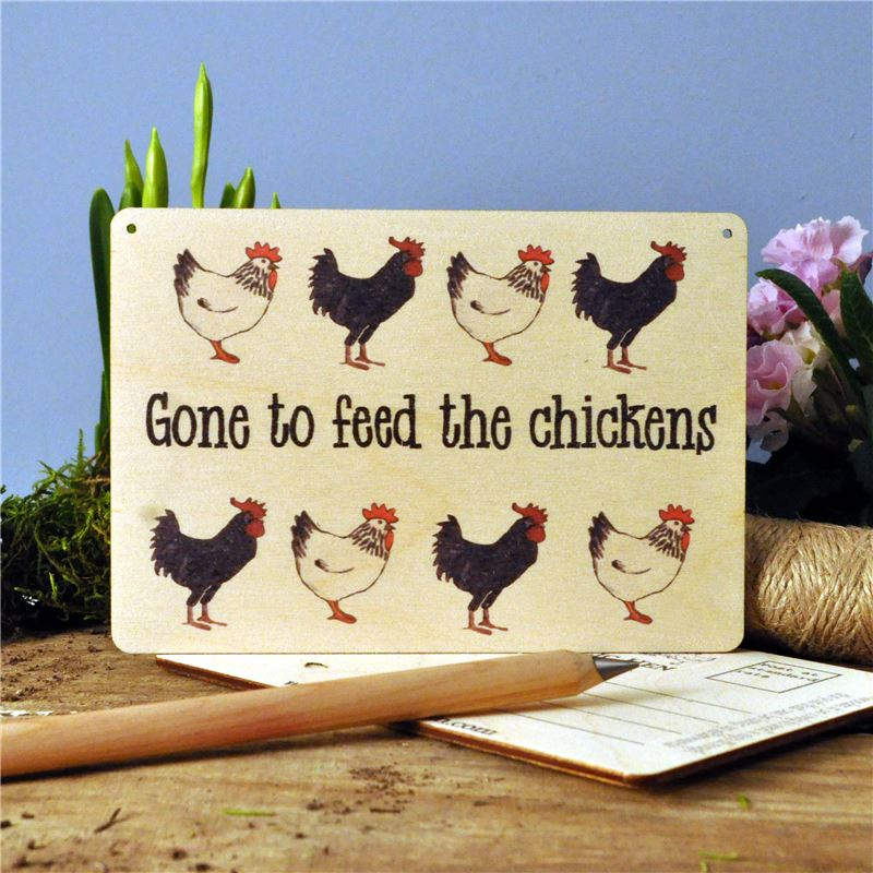Order Gone To Feed The Chickens Wooden Postcard