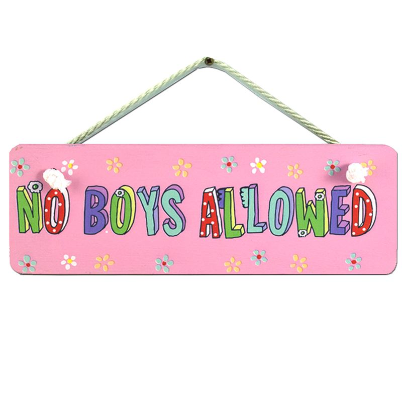 Order Hand Painted Wooden Door Sign:  No Boys Allowed
