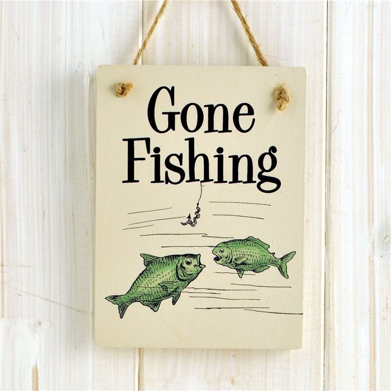 Order Wooden Hanging Sign - Gone Fishing