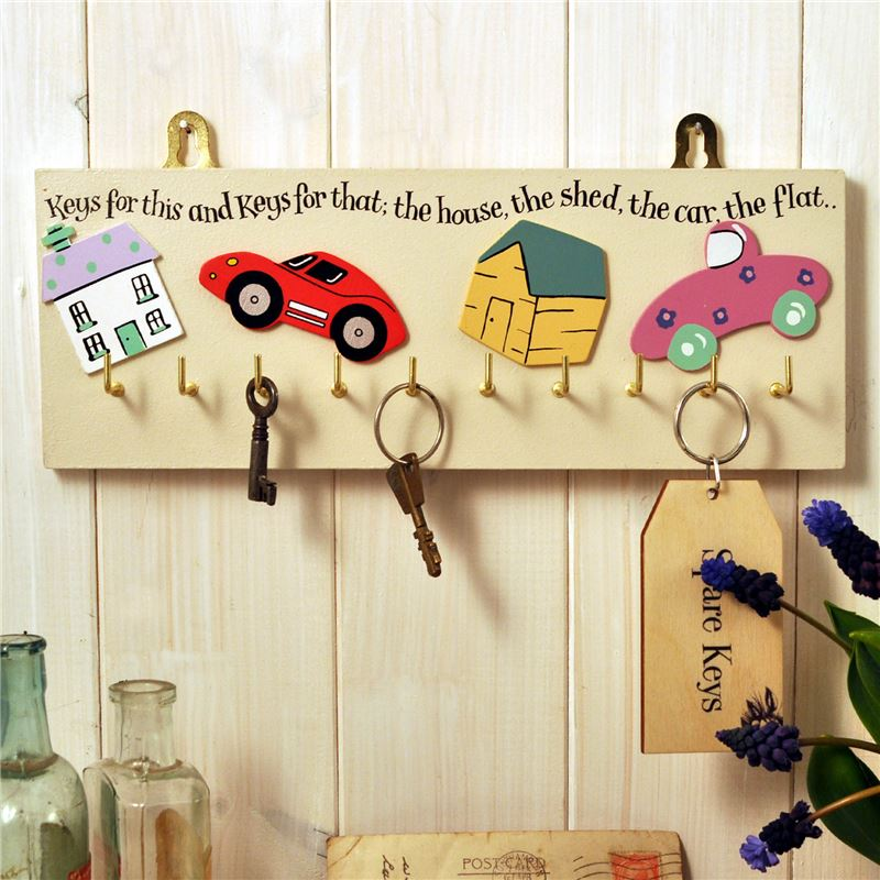 Order Hand Painted Wooden Key Rack:  Keys for this and that (Cream)