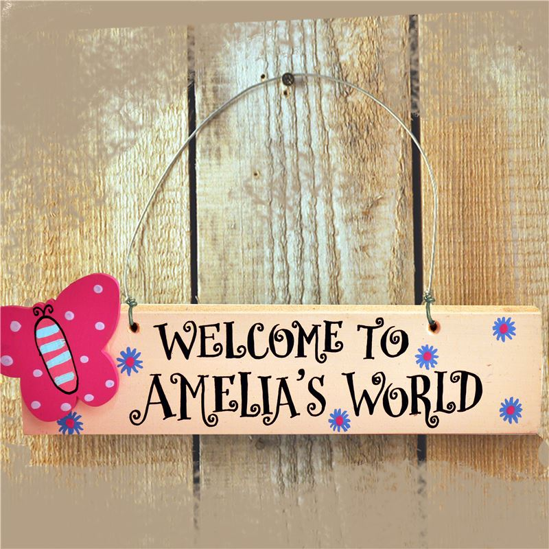 Order Personalised Hand Painted Wooden Door Sign - Welcome to my World