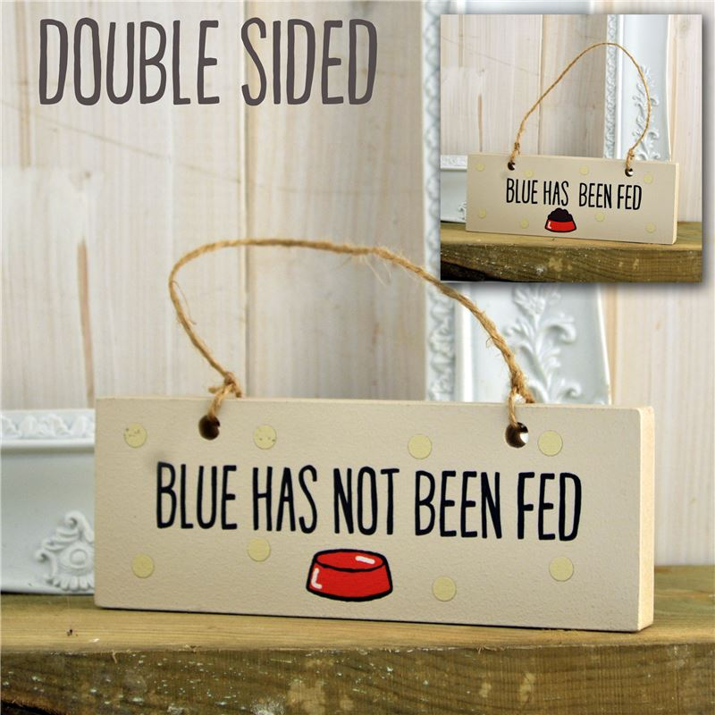 Order Double sided dogs fed sign