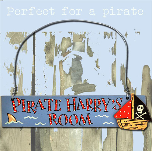 Order Personalised Hand Painted Wooden Boy's Name Door Sign - Pirate