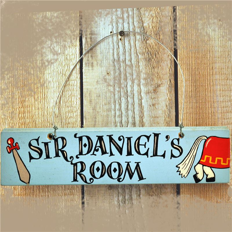 Order Personalised Hand Painted Wooden Boy's Name Door Sign - Knight