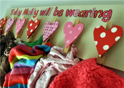 Order Personalised Hand Painted Wooden Clothes Peg Board Hearts - girl's name.