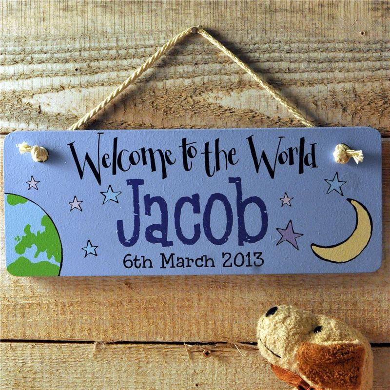 Order Personalised Hand Painted New Baby Gift:  Welcome to the world baby boy