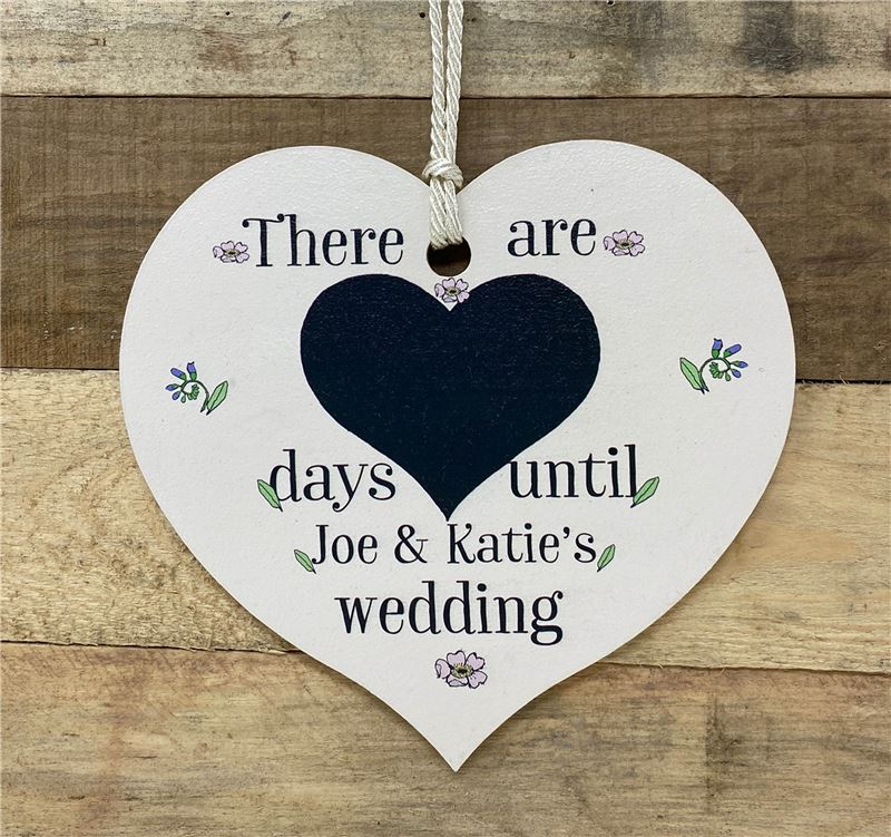 Order Personalised days to wedding heart