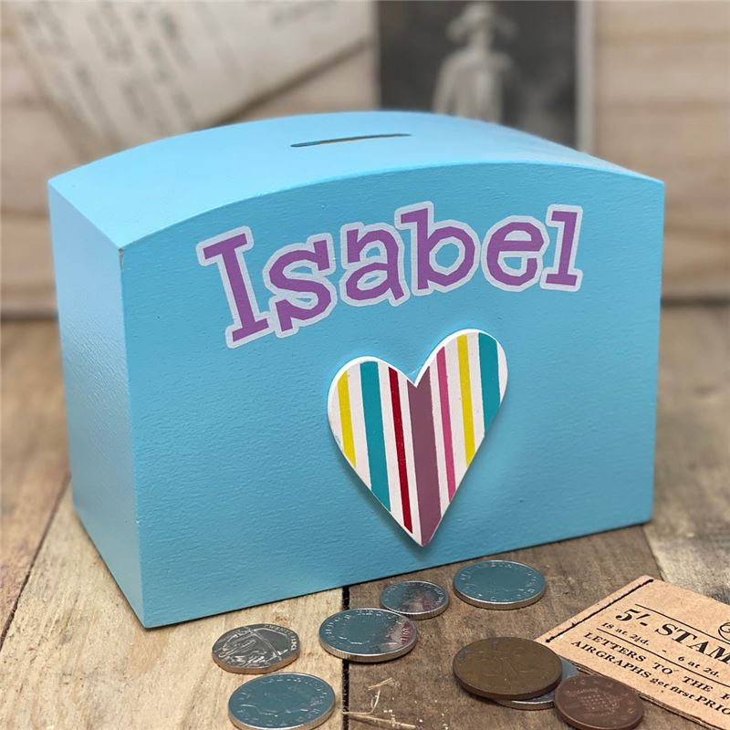Order Stripey heart personalised money box