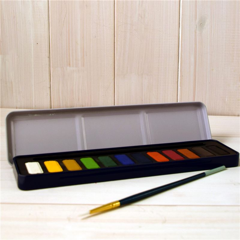 Order 12 Colour Watercolour Tin with Brush