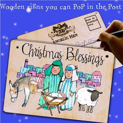Christmas Blessings Wooden Postcard
