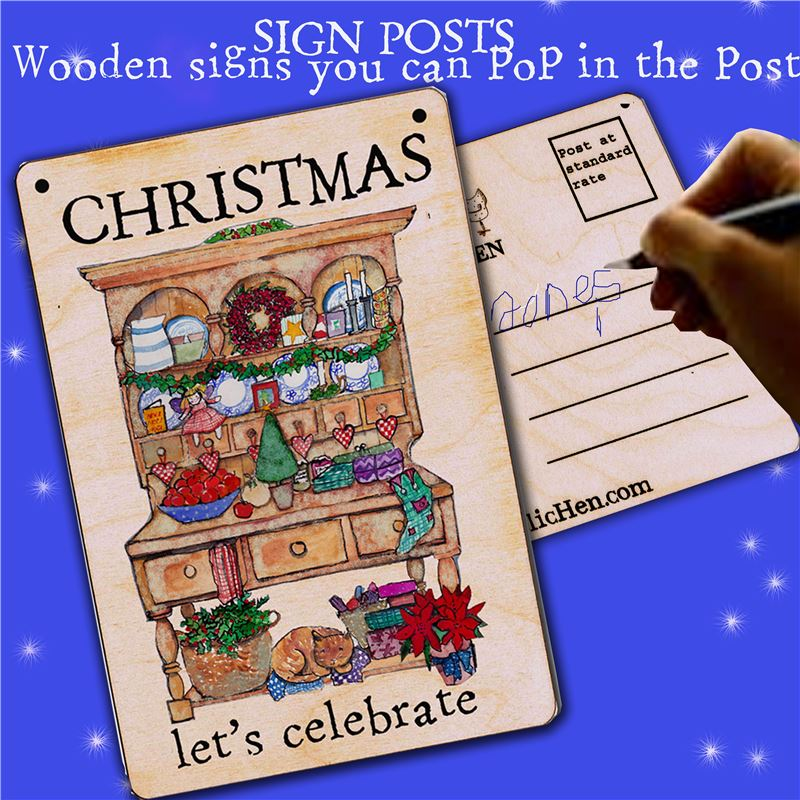 Christmas...Let's celebrate Wooden Postcard Greeting
