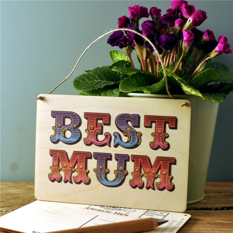 Wooden Postcard - Best Mum
