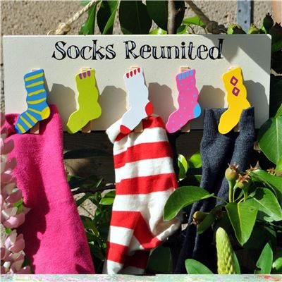 Socks Reunited - hand painted wooden peg board