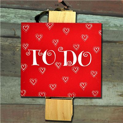 Hand Painted Wooden Peg: Jolly Red Hearts To Do List