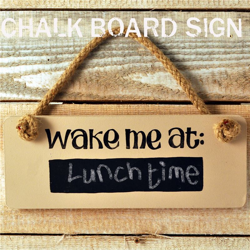 Wooden Door Sign:  Wake me at... (with chalkboard)
