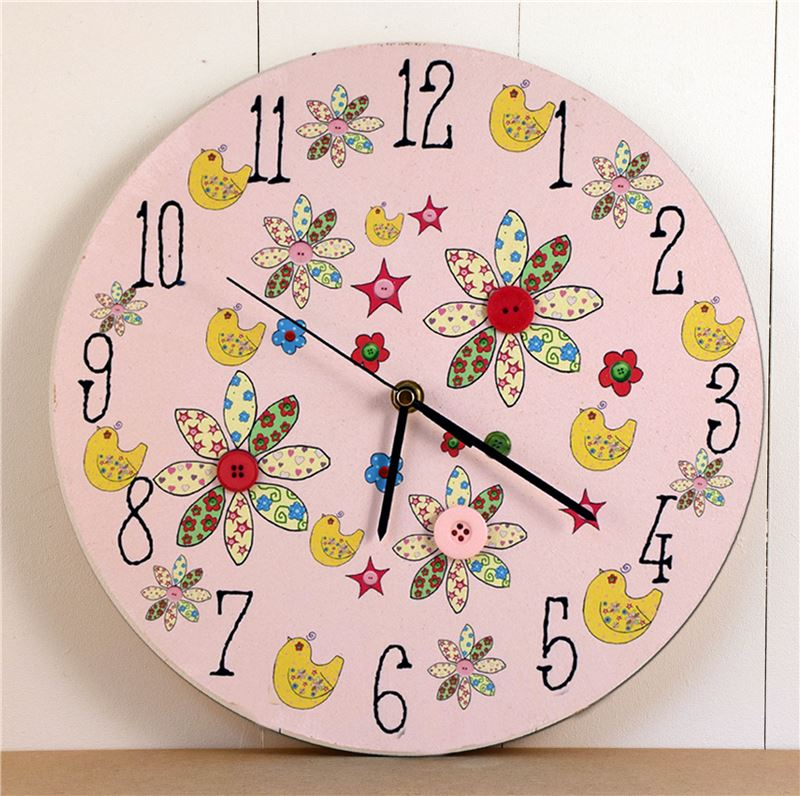Order Painted 'Bird and Button' Clock
