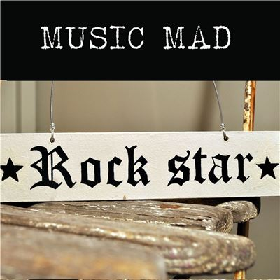 Hand Painted Wooden Door Sign:  Rock Star