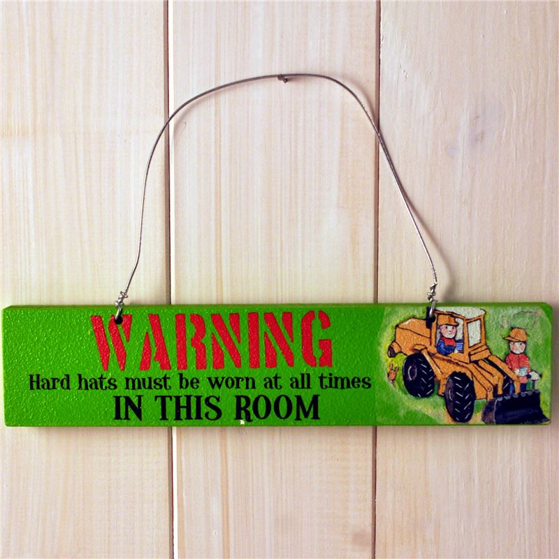 Order Wooden Door Sign:  Warning Hard Hats Must Be Worn