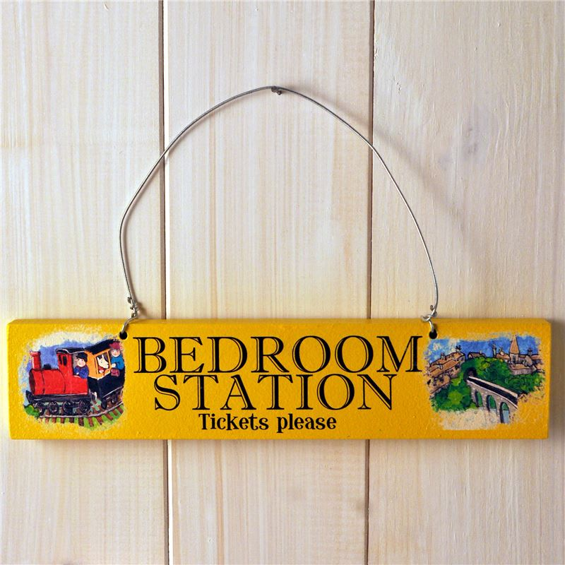 Order Wooden Door Sign: Bedroom Station Tickets Please