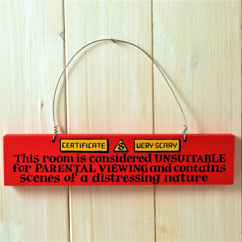 Order Hand Painted Wooden Door Sign:  Parental Warning