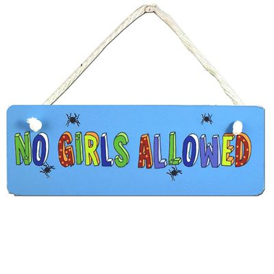 Hand Painted Wooden Door Sign:  No Girls Allowed