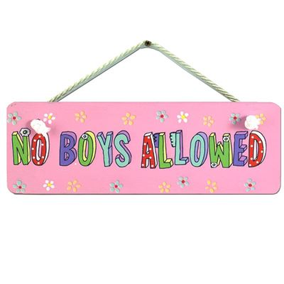 Hand Painted Wooden Door Sign:  No Boys Allowed