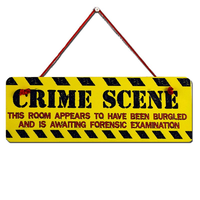 Order Hand Painted Wooden Door Sign:  Crime Scene
