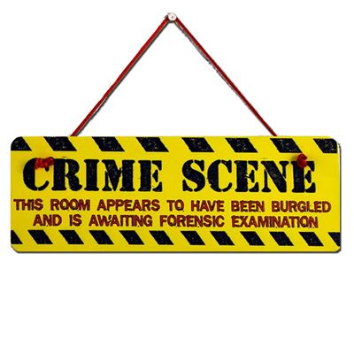 Hand Painted Wooden Door Sign:  Crime Scene