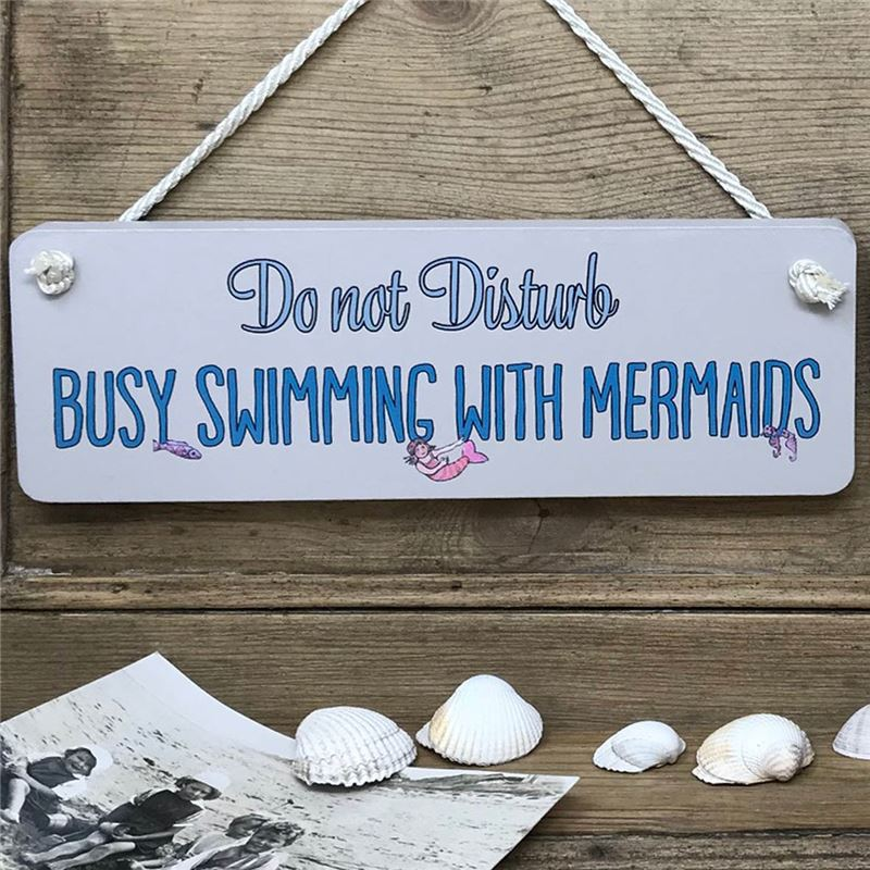 Order Bathroom Sign . Busy swimming with mermaids