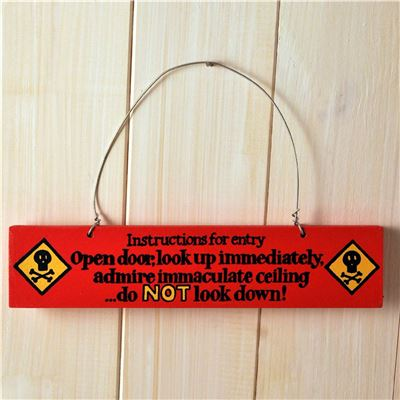 Hand Painted Wooden Door Sign:  Instructions for entry (blue)