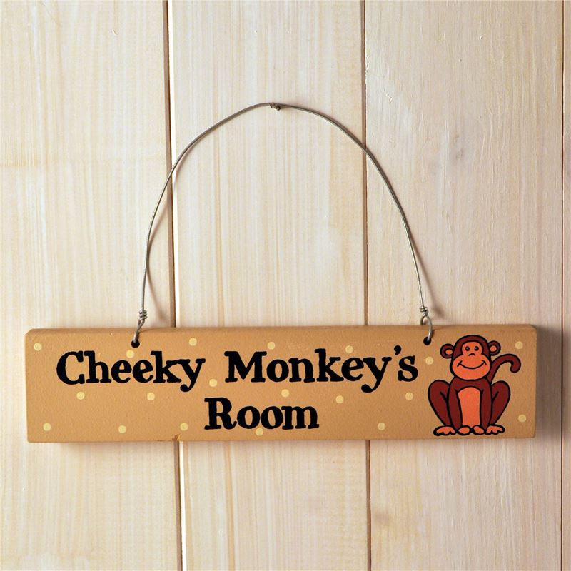Order Hand Painted Wooden Door Sign:  Cheeky Monkey's Room