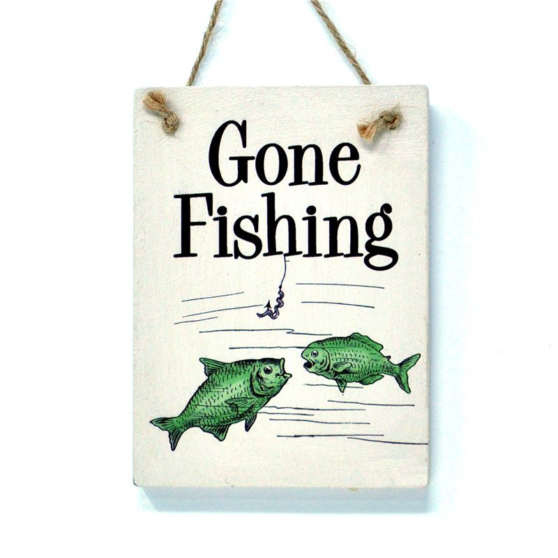 Wooden Hanging Sign - Gone Fishing