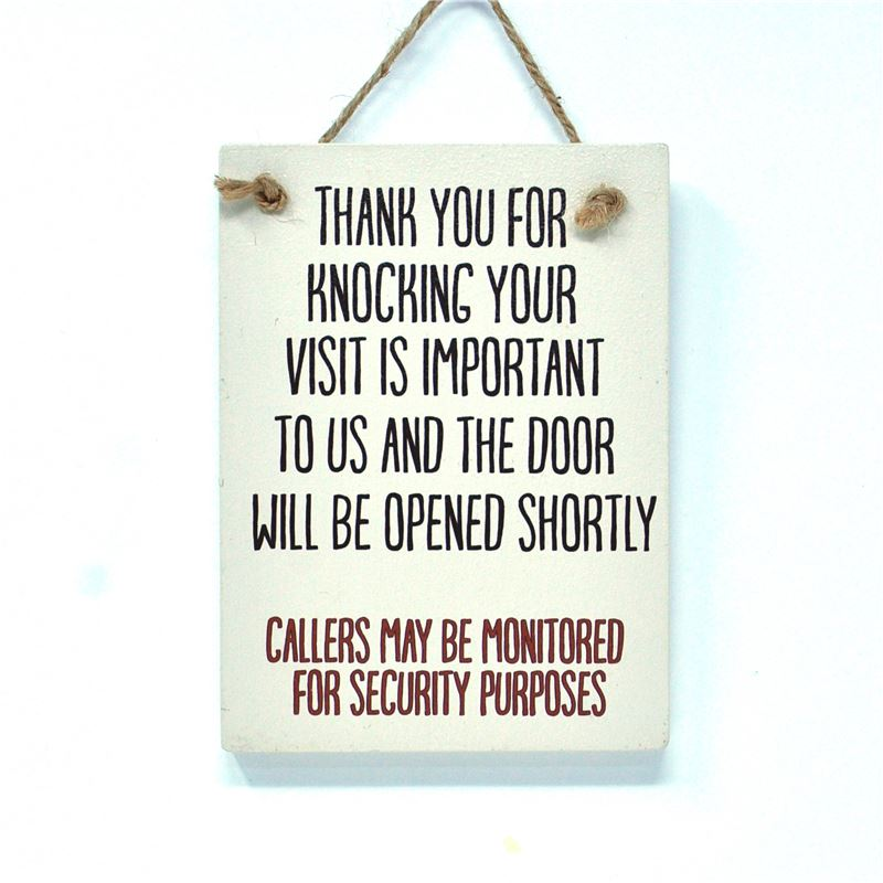 Wooden Hanging Sign - Thank You For Knocking (Etchings)