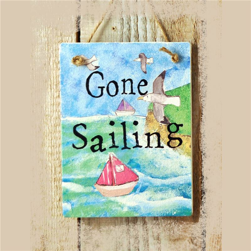 Gone Sailing Illustrated Hanging Sign