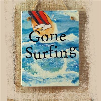 Gone Surfing Illustrated Hanging Sign