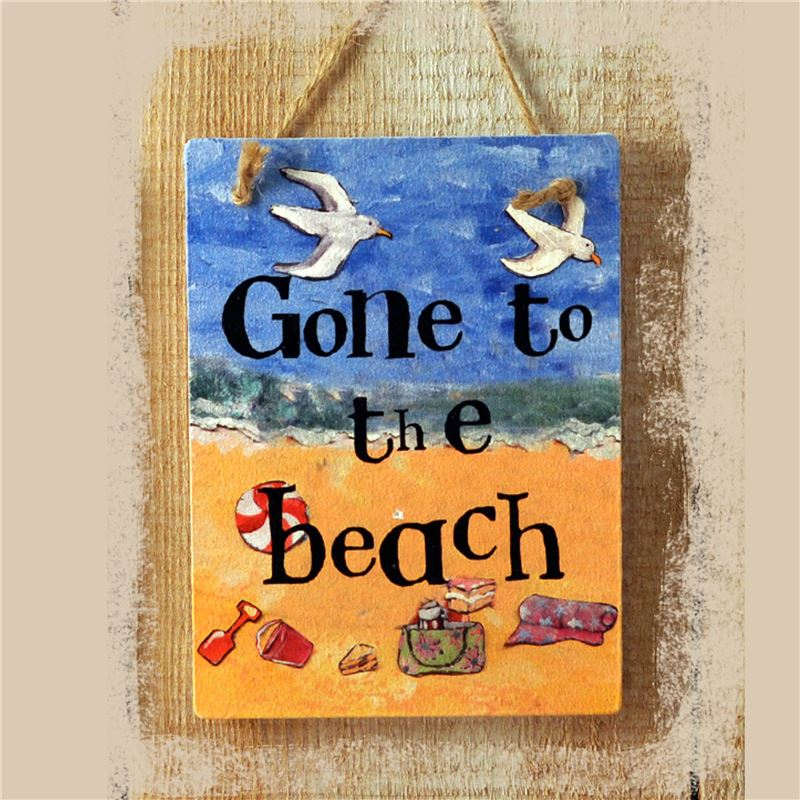 Order Gone To The Beach Illustrated Hanging Sign
