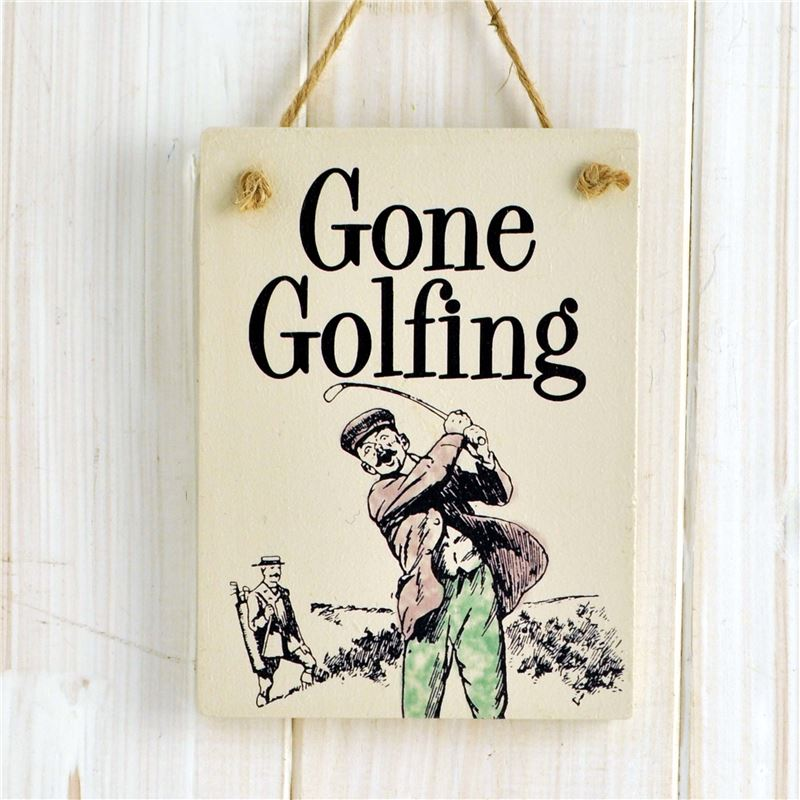 Order Wooden Hanging Sign - Gone Golfing