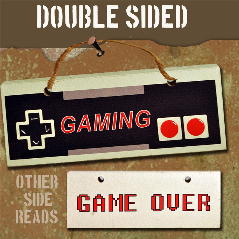 Order Hand Painted Wooden Door Sign:  Game Over/ Gaming