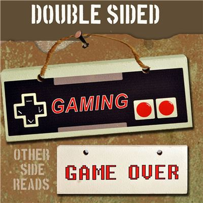 Hand Painted Wooden Door Sign:  Game Over/ Gaming