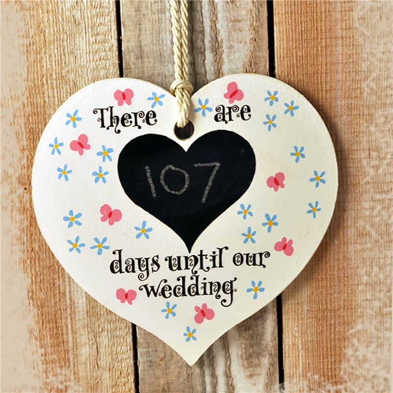 Order Hand Painted Wooden Heart Sign: Wedding (Meadow)