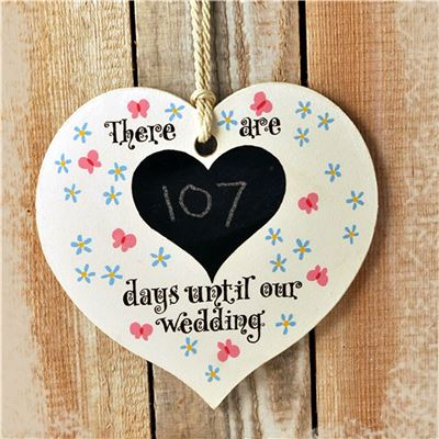 Hand Painted Wooden Heart Sign: Wedding (Meadow)