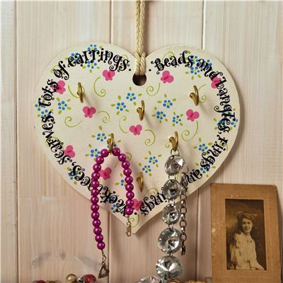 Wooden Heart Jewellery Rack: Bangles and Beads