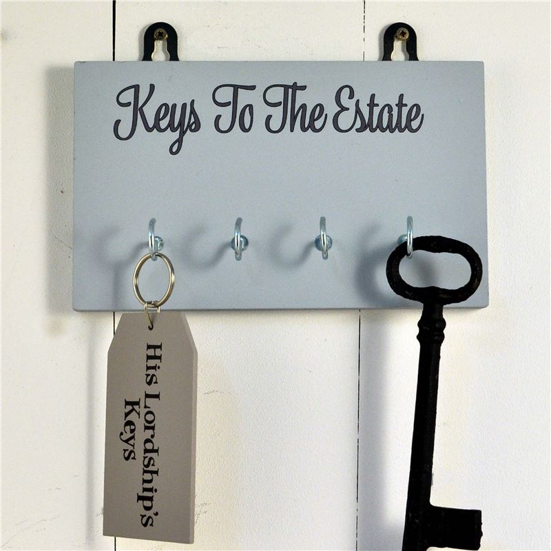 Order Wooden Key Rack: Keys to the Estate - pale blue
