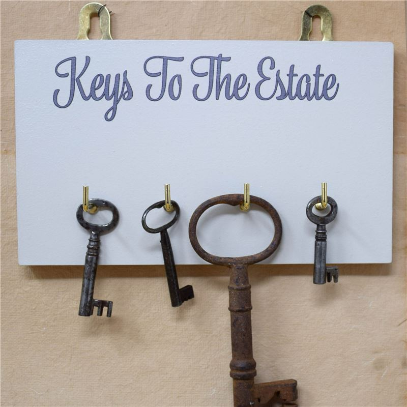 Copy of Wooden Key Rack: Keys to the Estate - pale blue