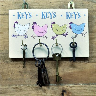Hetty Hen Key 4 hook key rack Cream
