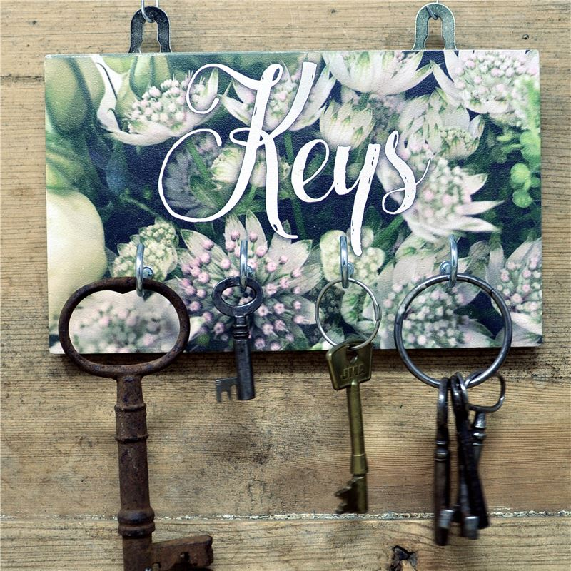 4 Hook White Flowers Key Rack