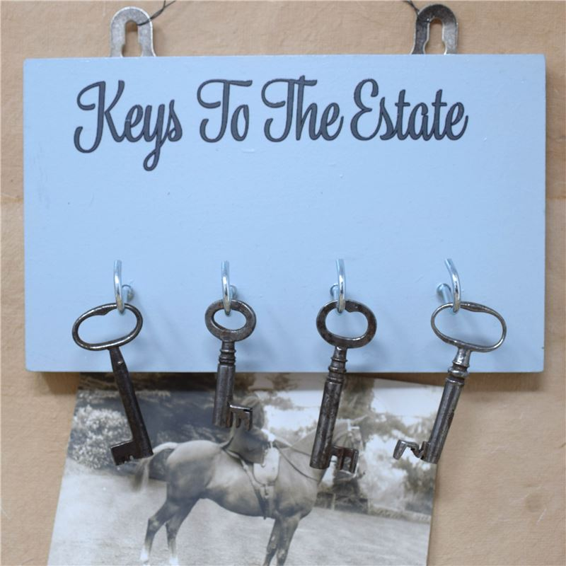 Wooden Key Rack: Keys to the Estate - pale blue