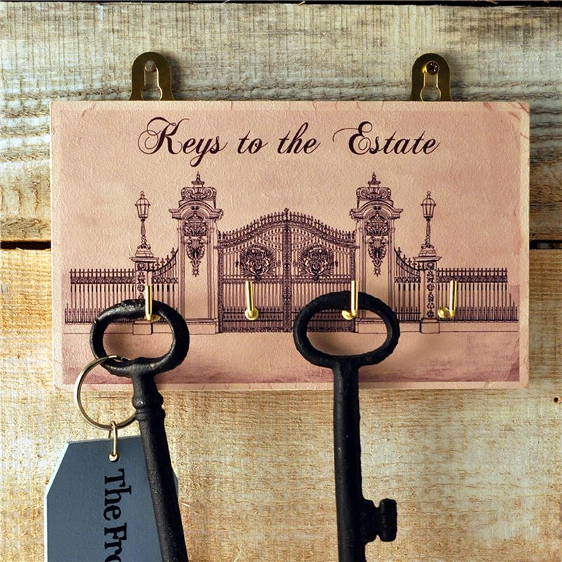 Order Wooden Key Rack: Keys to the Estate - Gates