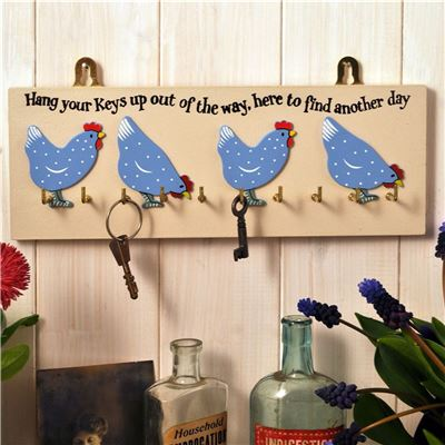 Pecking hens key rack