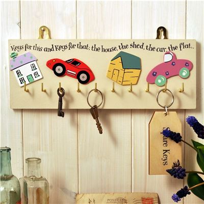 Hand Painted Wooden Key Rack:  Keys for this and that (Cream)